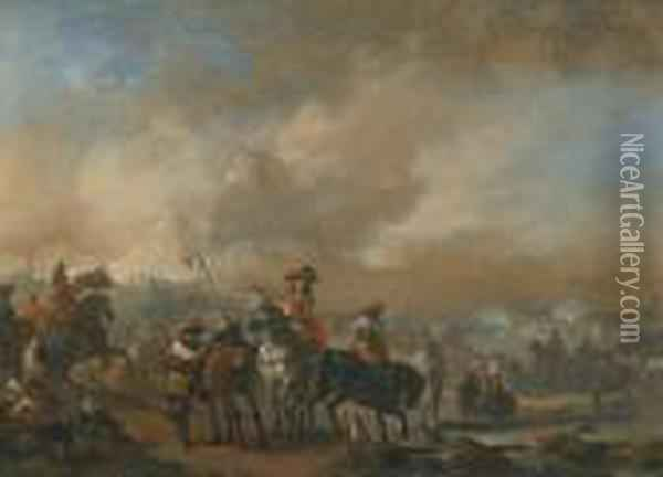 Cavalry On The Move, A Fortification Under Siege Beyond Oil Painting - Pieter Wouwermans or Wouwerman
