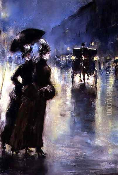 Lights at Night, 1889 Oil Painting - Lesser Ury