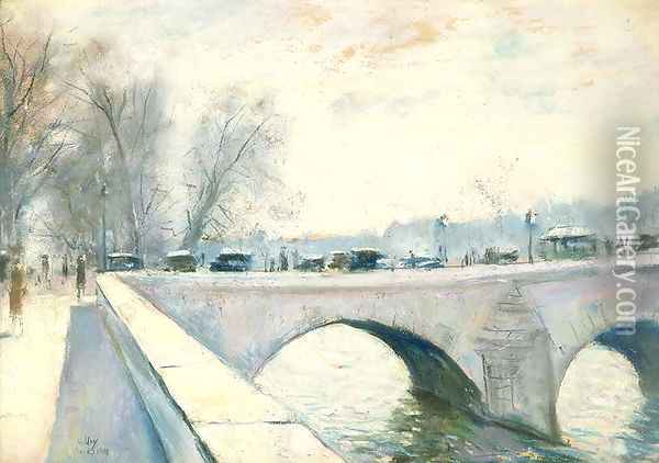 Pont Royal, Paris, Winter Oil Painting - Lesser Ury