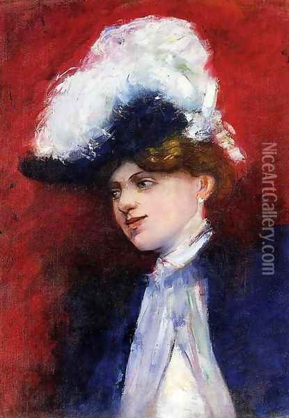 Beautiful Woman with Feathered Hat Oil Painting - Lesser Ury