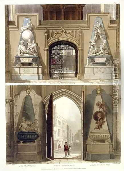 The Entrance into the Choir and the West Entrance, plate 20 from Westminster Abbey, engraved by J. Bluck fl.1791-1831 pub. by Rudolph Ackermann 1764-1834 1812 Oil Painting - Thomas Uwins