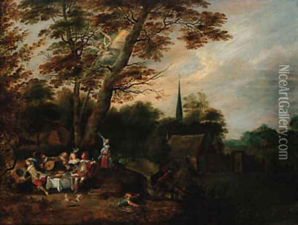 Elegant company at table in a wooded landscape, a village beyond with an angel of the Apocalypse above Oil Painting - Lucas Van Uden
