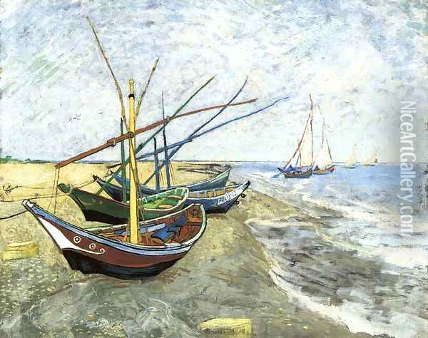 Fishing Boats On The Beach At Saintes Maries Oil Painting - Vincent Van Gogh
