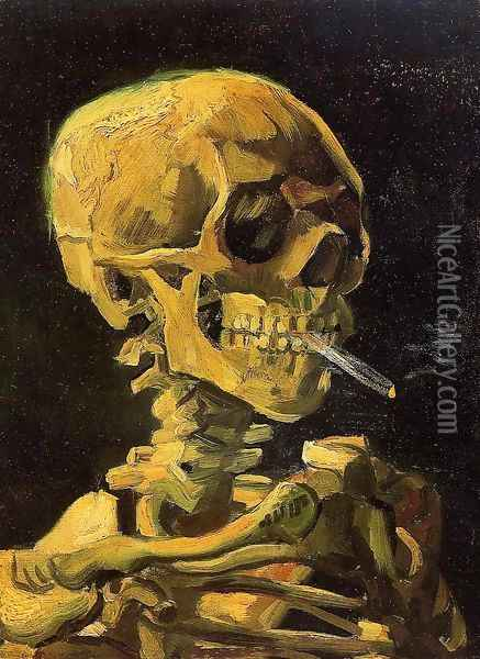 Skull With Burning Cigarette Oil Painting - Vincent Van Gogh