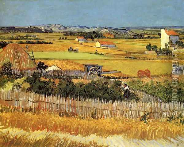 Harvest At La Crau With Montmajour In The Background Oil Painting - Vincent Van Gogh