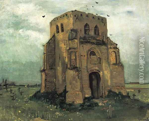 Country Churchyard and Old Church Tower Oil Painting - Vincent Van Gogh