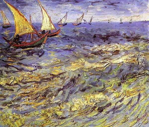 Fishing Boats at Sea Oil Painting - Vincent Van Gogh