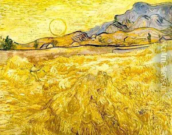 Wheat Field With Reaper And Sun Oil Painting - Vincent Van Gogh