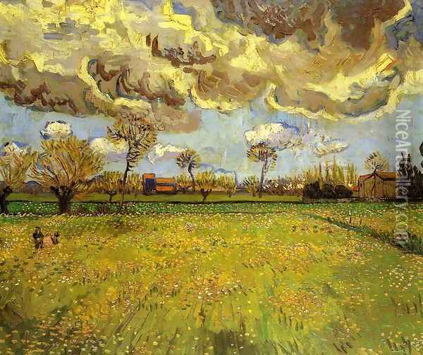 Landscape Under A Stormy Sky Oil Painting - Vincent Van Gogh