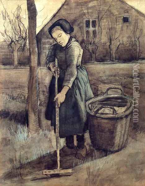 A Girl Raking Oil Painting - Vincent Van Gogh