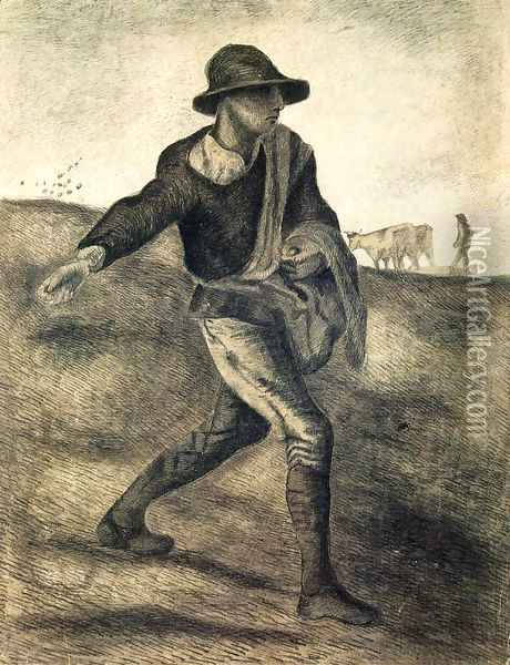 A Sower (after Millet) Oil Painting - Vincent Van Gogh