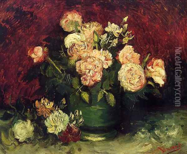 Bowl With Peonies And Roses Oil Painting - Vincent Van Gogh