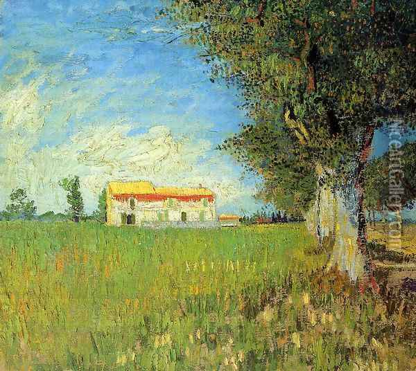 Farmhouse In A Wheat Field Oil Painting - Vincent Van Gogh