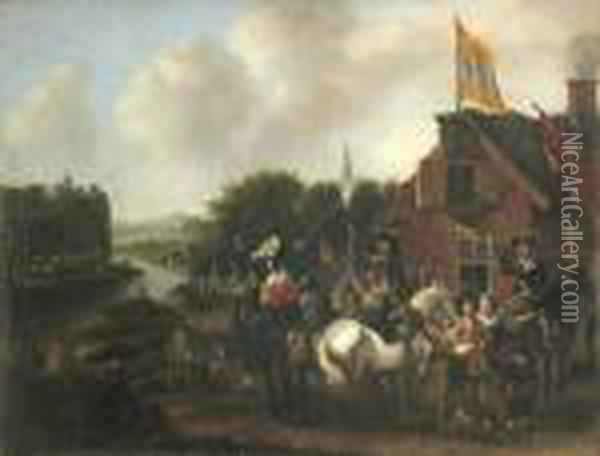 Travellers Outside An Inn Oil Painting - Pieter Wouwermans or Wouwerman