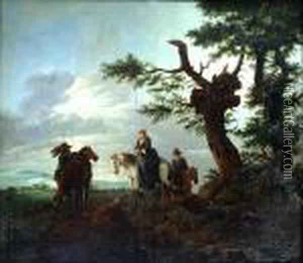 A Lady On Horseback With Other Figures Resting By Trees Oil Painting - Pieter Wouwermans or Wouwerman