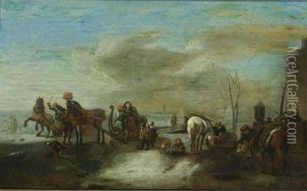 A Winter Scene With Two 