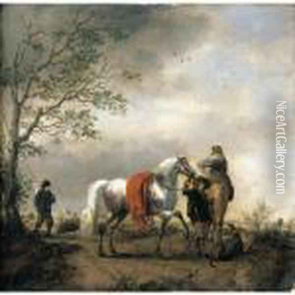 A Cavalier Holding A Dappled 