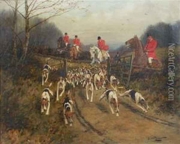 On The Scent, Huntsmen And Hounds On The Chase Oil Painting - George Wright