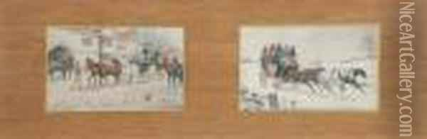 Changing Horses Oil Painting - George Wright