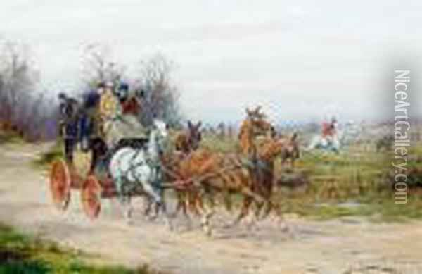 A Stagecoach Drawing Alongside A Hunt Oil Painting - George Wright