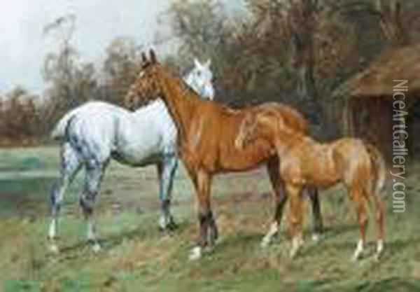 Horses In A Field Oil Painting - George Wright