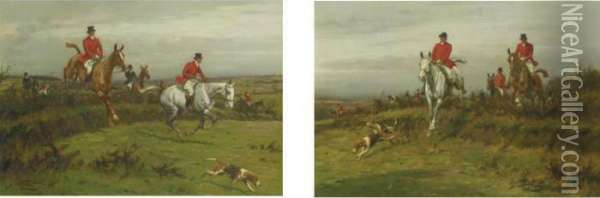 Clearing The Hedgerows: A Pair Of Hunt Scenes Oil Painting - George Wright