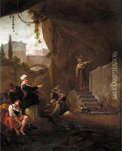 Interior Of A Cave With Women Washing Their Laundry In A Stream Oil Painting - Thomas Wyck
