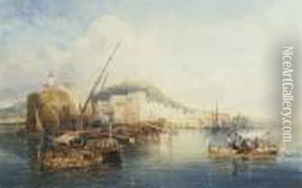Fishing Vessels Before The Castel Dell'ovo, Naples Oil Painting - William Wyld