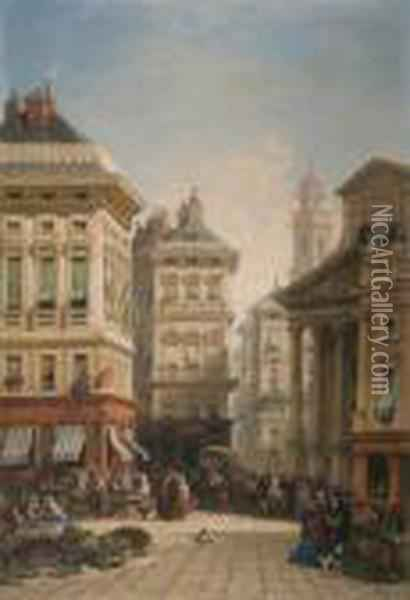 A Continental Street Scene Oil Painting - William Wyld