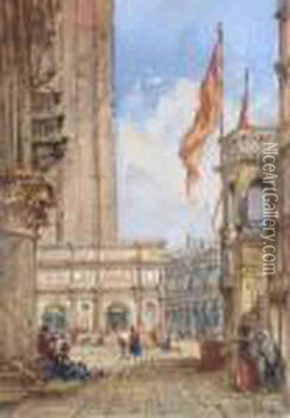 Venice 'wwylde' (lower Right) Oil Painting - William Wyld