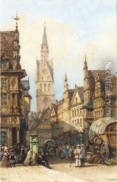 A Street In Hanover Oil Painting - William Wyld
