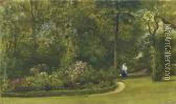 A Walk In The Garden Oil Painting - William Wyld