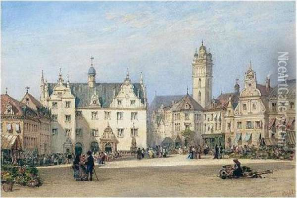 The Market Square, Darmstadt, Germany Oil Painting - William Wyld