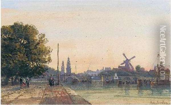 View Of Amsterdam From The Amstel Oil Painting - William Wyld