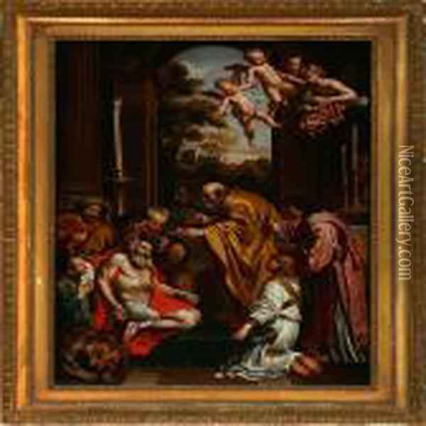 Last Communion Of St. Jerome Oil Painting - Domenico Zampieri (Domenichino)