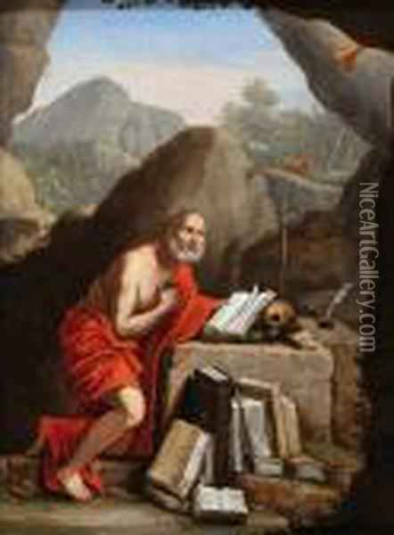 Hilly Landscape,in The  Foreground Saint Jerome Kneeling In Front Of A Stone Altarwith A Skull  And Some Books Oil Painting - Domenico Zampieri (Domenichino)
