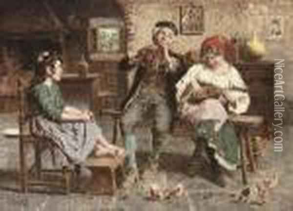 The Family Concert Oil Painting - Eugenio Zampighi