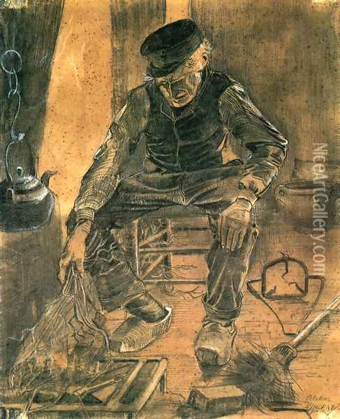An Old Man Putting Dry Rice on the Hearth Oil Painting - Vincent Van Gogh