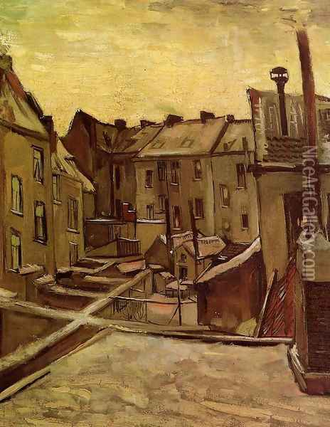 Backyards Of Old Houses In Antwerp In The Snow Oil Painting - Vincent Van Gogh
