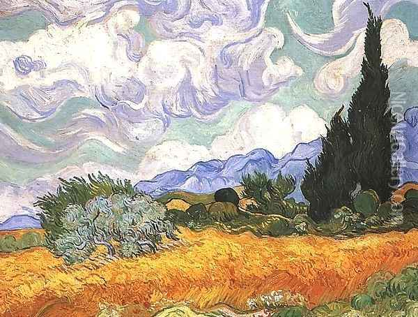 Wheat Field With Cypresses At The Haute Galline Near Eygalieres Oil Painting - Vincent Van Gogh