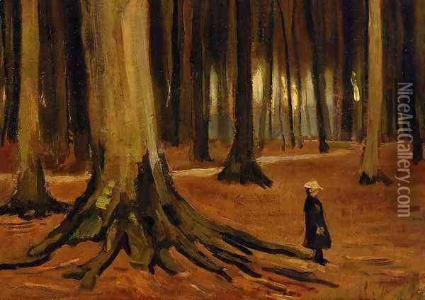 Girl in the Woods Oil Painting - Vincent Van Gogh