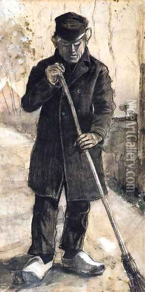 A Man with a Broom Oil Painting - Vincent Van Gogh