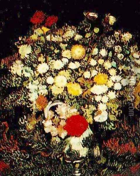 Chrysanthemums And Wild Flowers In A Vase Oil Painting - Vincent Van Gogh
