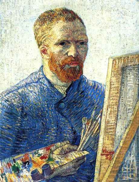 Self Portrait In Front Of The Easel Oil Painting - Vincent Van Gogh