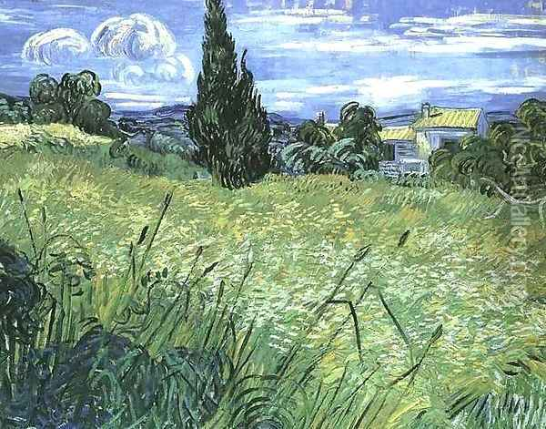 Green Wheat Field With Cypress Oil Painting - Vincent Van Gogh