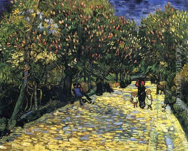 Avenue with Flowering Chestnut Trees Oil Painting - Vincent Van Gogh