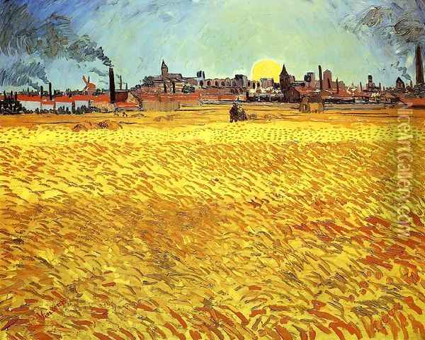 Summer Evening, Wheatfield with Setting sun Oil Painting - Vincent Van Gogh