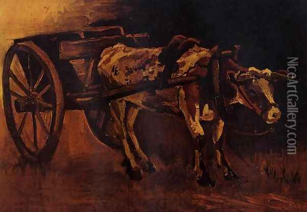 Cart With Red And White Ox Oil Painting - Vincent Van Gogh
