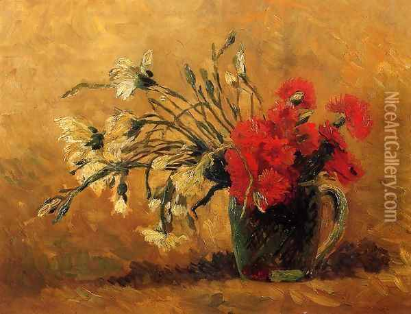 Vase With Red And White Carnations On Yellow Background Oil Painting - Vincent Van Gogh