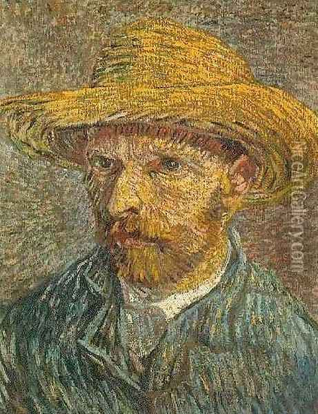 Self Portrait With Straw Hat V Oil Painting - Vincent Van Gogh